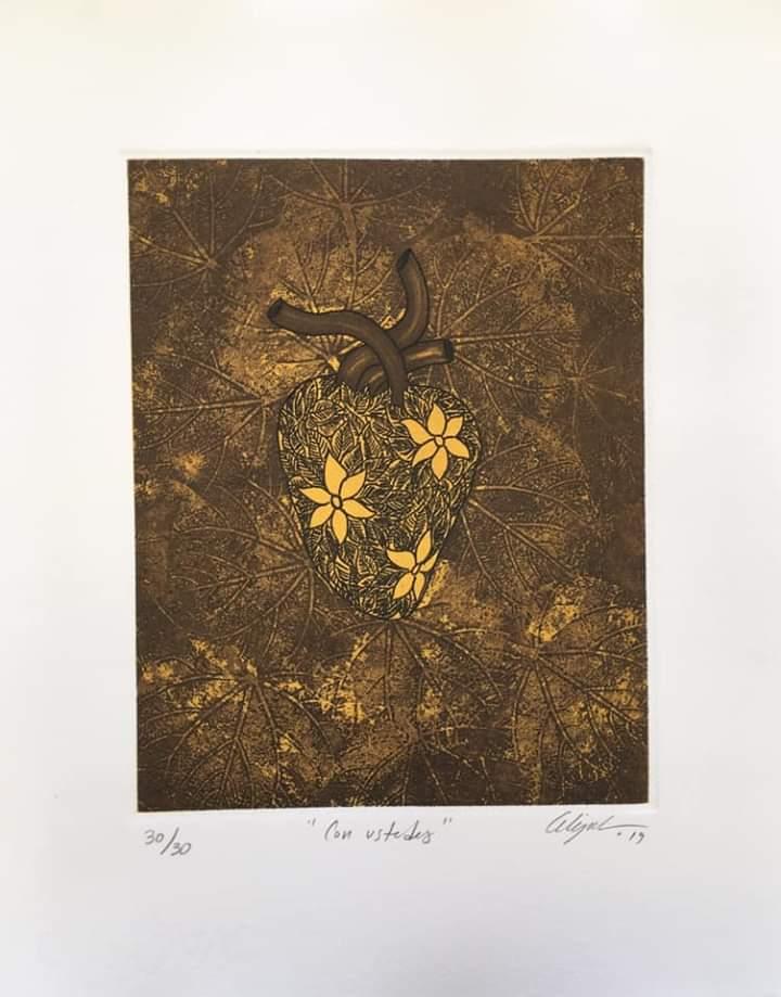 """""""Con ustedes""""     Alejandro Martínez.    Grabado: Impresión 24 x 19 cm; Papel 34 x 29 cm"""