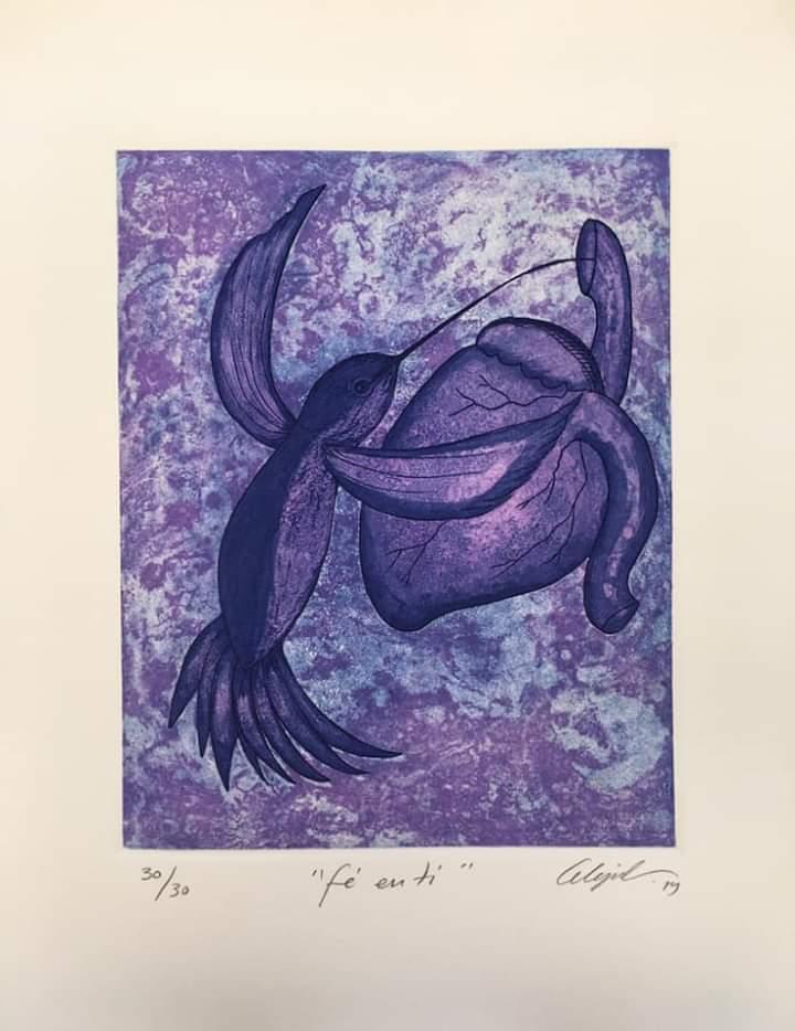 """""""Fe en ti""""     Alejandro Martínez.    Grabado: Impresión 24 x 19 cm; Papel 34 x 29 cm"""