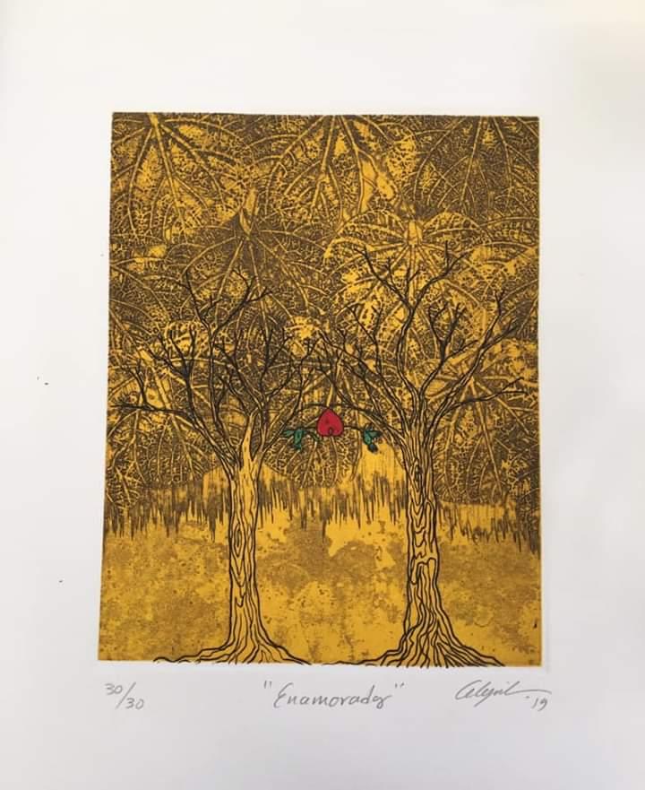 """""""Enamorados""""     Alejandro Martínez.    Grabado: Impresión 24 x 19 cm; Papel 34 x 29 cm"""