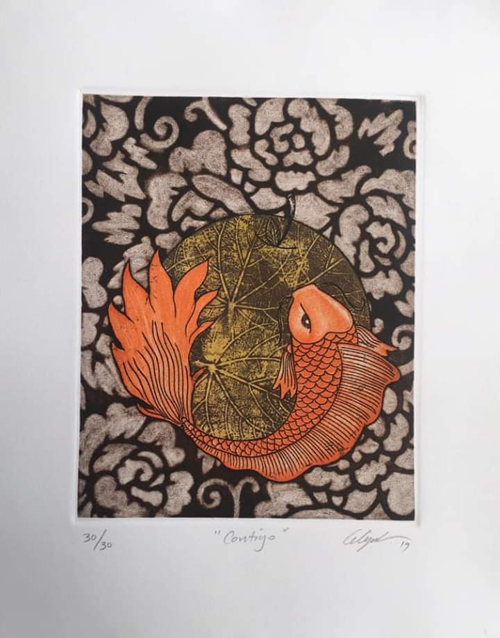 """Contigo""     Alejandro Martínez. Grabado: Impresión 24 x 19 cm; Papel 34 x 29 cm"