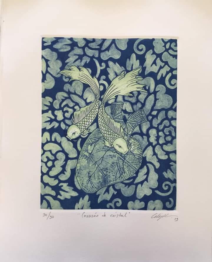 """""""Corazón de cristal""""    Alejandro Martínez.    Grabado: Impresión 24 x 19 cm; Papel 34 x29 cm."""