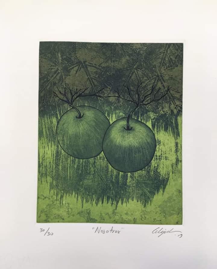 """""""Nosotros""""    Alejandro Martínez.    Grabado: Impresión 24 x 19 cm; Papel 34 x 19 cm"""