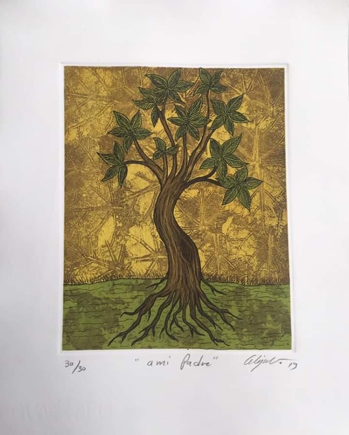 """""""A mi padre""""     Alejandro Martínez.    Grabado: Impresión 24 x 19 cm; Papel 34 x 29 cm"""