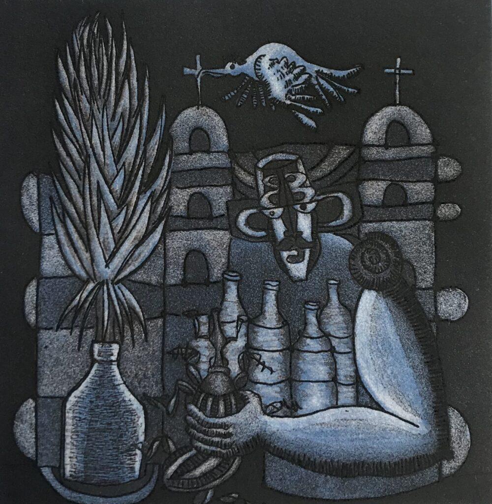 "Ixrael Montes. Grabado. Impresión 15 x 16 cm Papel 25 x 36 cm  ""Cuish"" - Carpeta Agaves-"