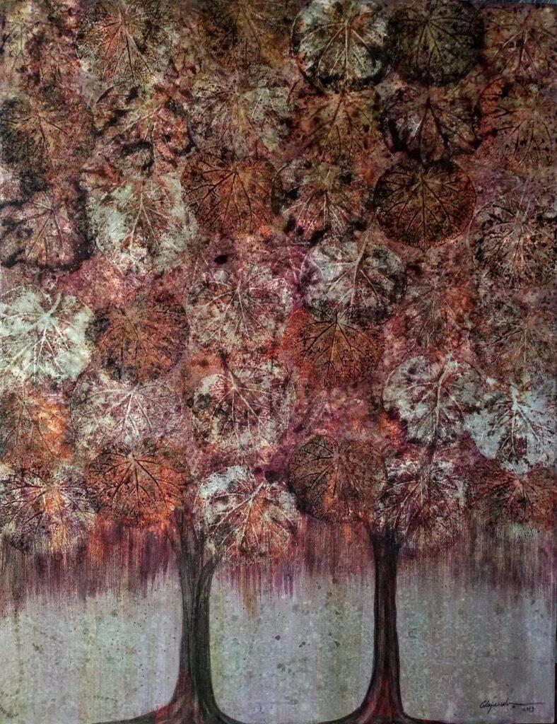 Alejandro Martínez.  Sin Título.  Mixta de grana cochinilla sobre tela.  130 x 100 cm.