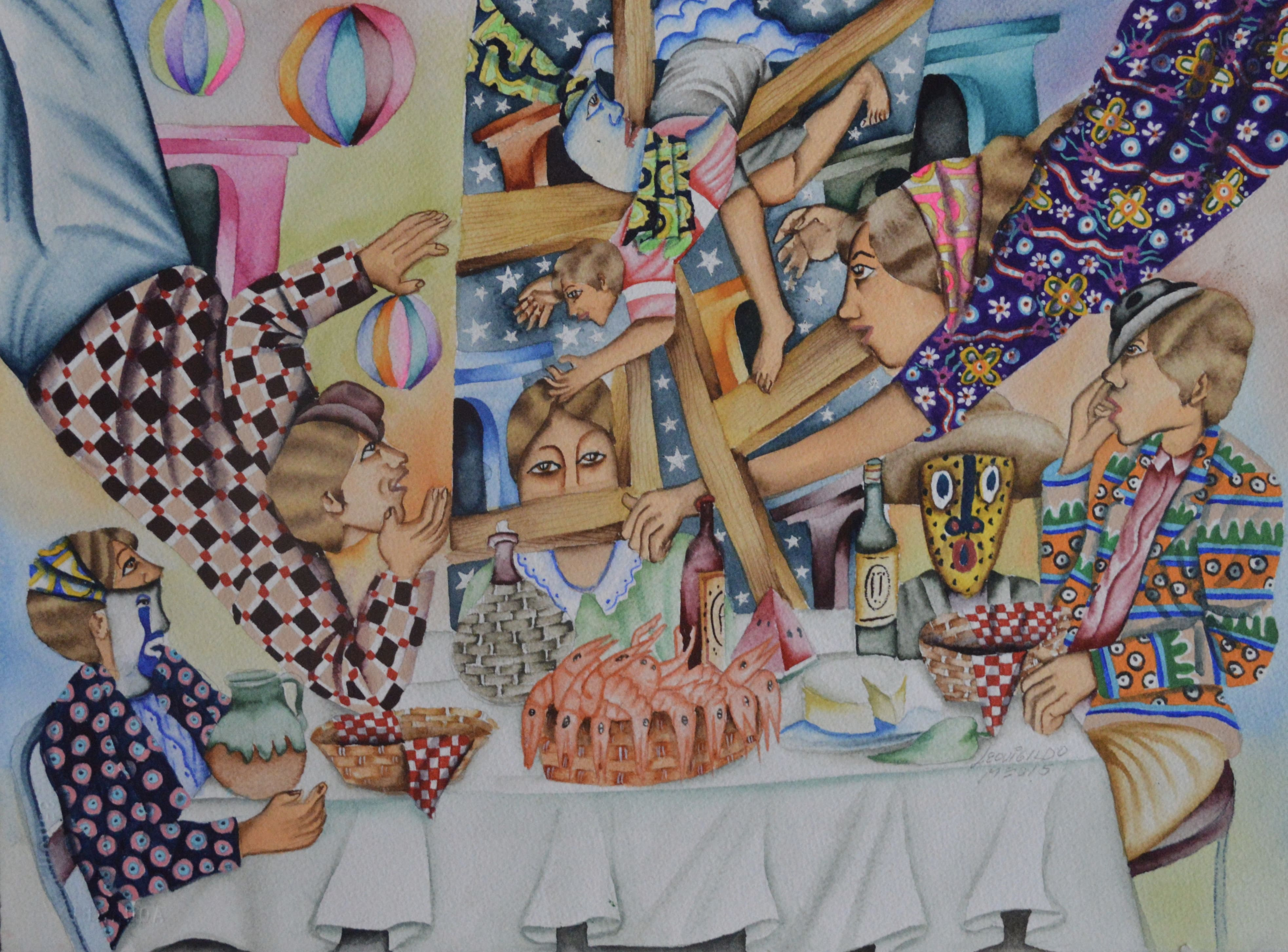 """Camaleones""   |  Leovigildo Martínez.  |   Acuarela 28 x 38 cm"