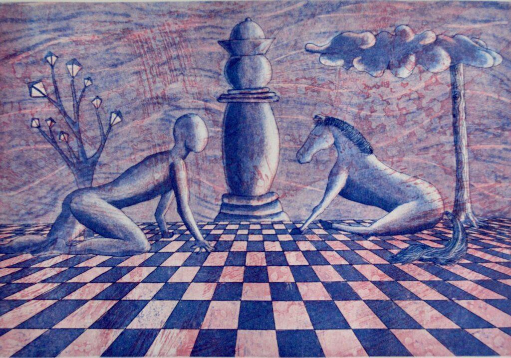 """""""La vida en Jaque"""", Isaac Montes, Grabado, Medidas: 33 x 23 cm. OBRA PARA APOYO A CASA DE LUZ Y DESCANSO, MARICARMEN A. C."""
