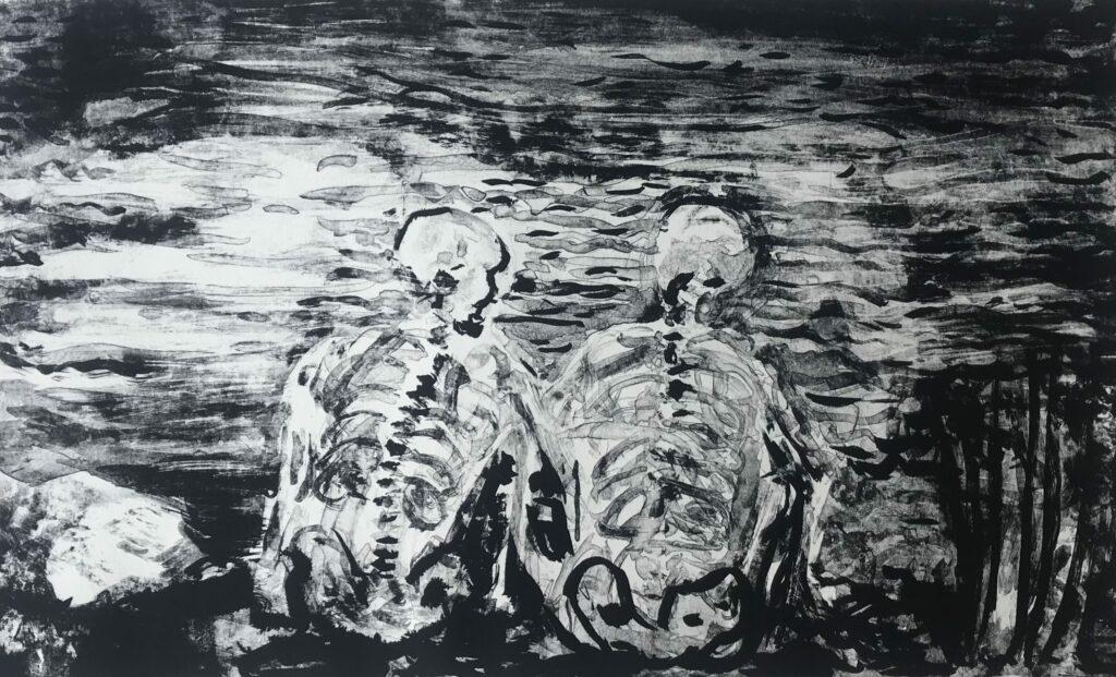"""""""Sin título""""     Aceves Humana    Litografía Impresión 28x46 cm; Papel 38x56 cm    Carpeta Muerta"""