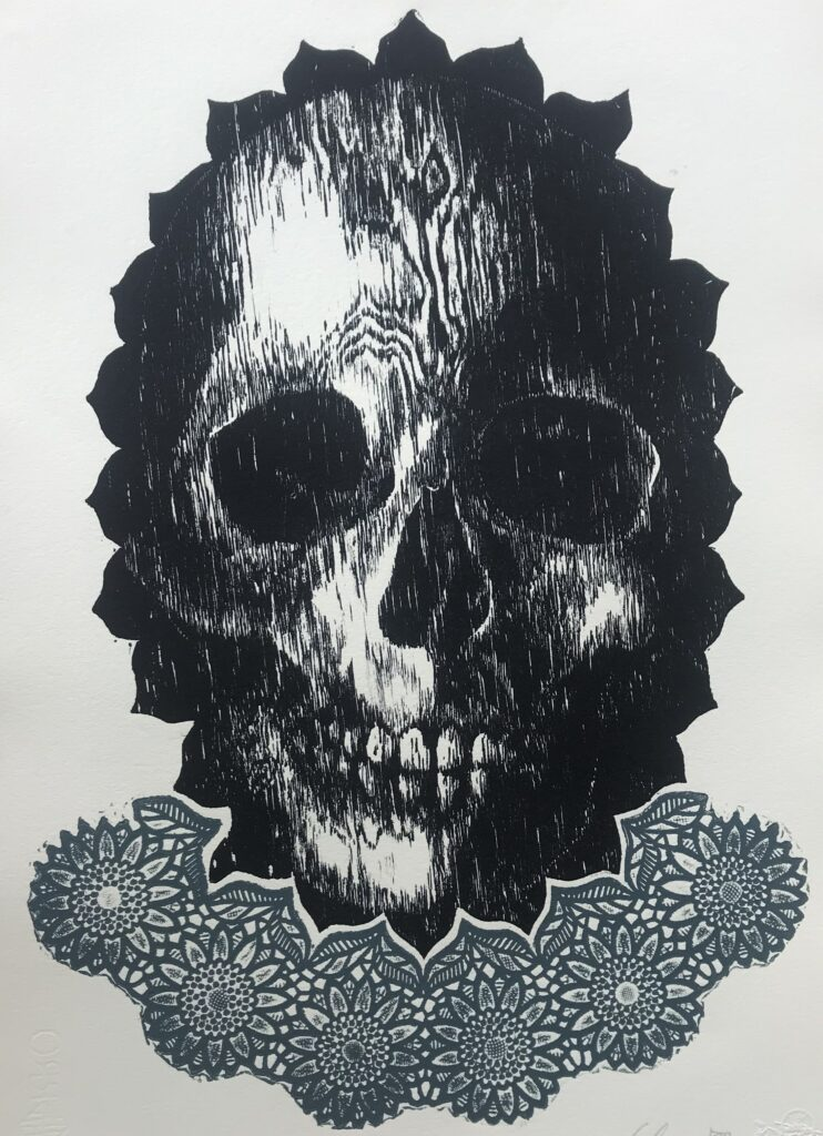 """Siempre viva""     Edith Chavez   Xilografía: Impresión 28 x 46 cm; Papel 38 x 56 cm    -Carpeta muerta-"