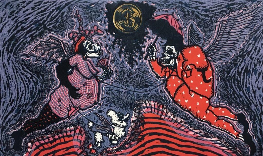 """""""El mundo rosa de la burguesía""""   Mario Guzman.     Papel 38 x 56 cm.  Impresión 28 x 46 cm.   -Carpeta muerta-"""