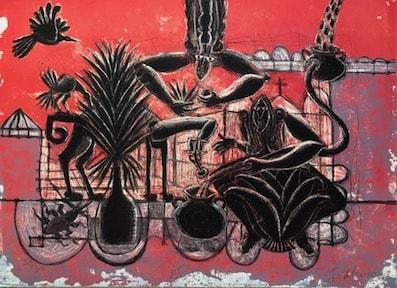 Ixrael Montes.  El picudo (carpeta mezcal). Litografía.  56 x 40 cm.