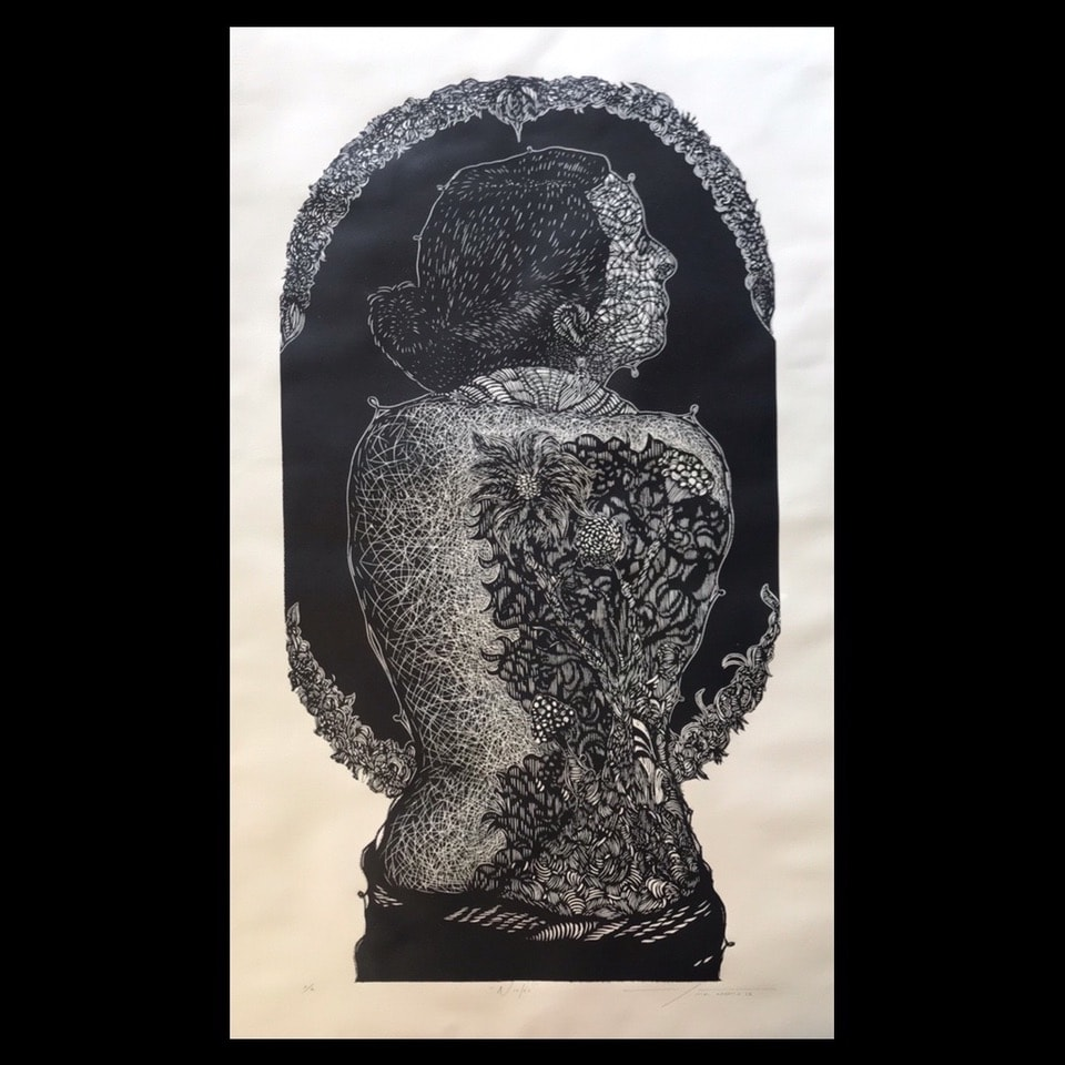 """Nislée  |   Alan Altamirano   |   Xylografía: Impresión 98 x 54 cm; Papel  cm"