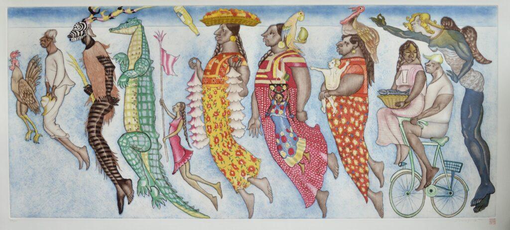 Shinzaburo Takeda.  Familia Oaxaqueña.  Grabado.  Papel 173 x 83 cm.  Impresión 159 x 68 cm.
