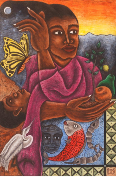 """Madre""  |  Enrique Flores   |   Aguafuerte, aguatinta y barniz dulce.  Papel 69 x 52 cm.  Impresión 50 x 33 cm."