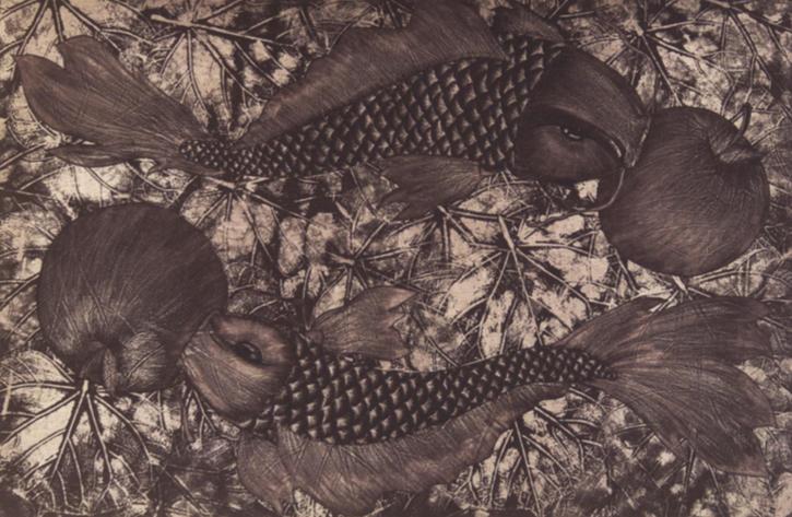 Alejandro Martínez.  Juntos Aguafuerte, aguatinta, barniz blando y madera.  Impresión Papel 52 x 69 cm Impresión 33 x 50 cm