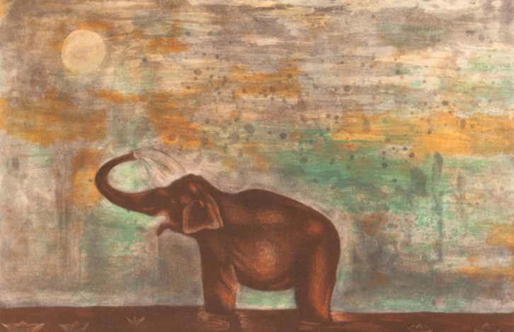 """Having fun""  |  Alejandra Villegas.  |  Agua fuerte, agua tinta y ácido directo.  Papel 52 x 69 cm.  Impresión 33 x 50 cm."