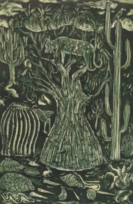 Cecilio Sánchez. Zotolín (carpeta de la reserva de la biósfera.  Agua fuerte, aguatinta y barníz dulce. Papel 69 x 52 cm. Impresión 50 x 33 cm.