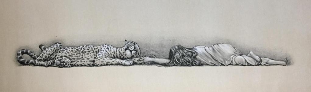 """""""Sobre la misma tierra""""       Daniel Barraza         Litografía.  12 x 50 cm."""