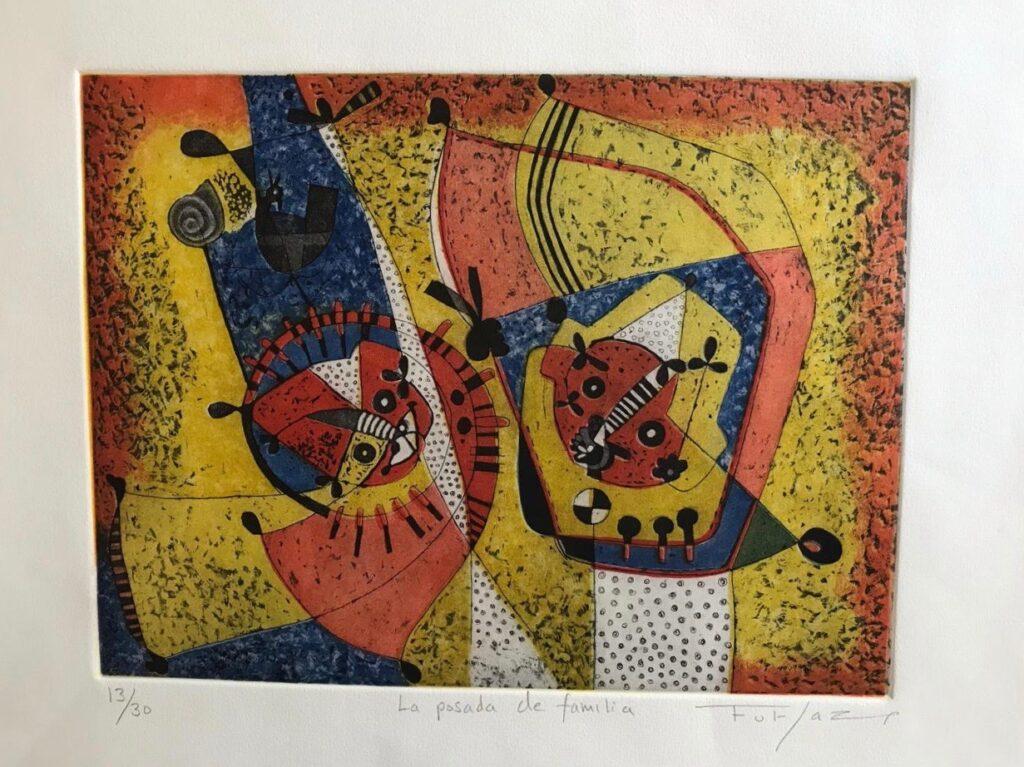 "Fulgencio Lazo, ""La posada de familia"", Grabado, Impresión 29.5x39.5, Papel 45x55."