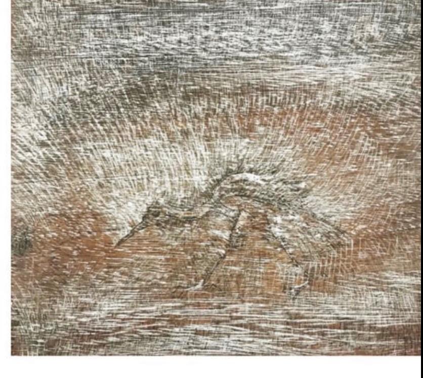 """Pajaro""  |  Francisco Toledo  | Xilografia impresión 20 x 30 cm; Papel 26 x 38 cm"