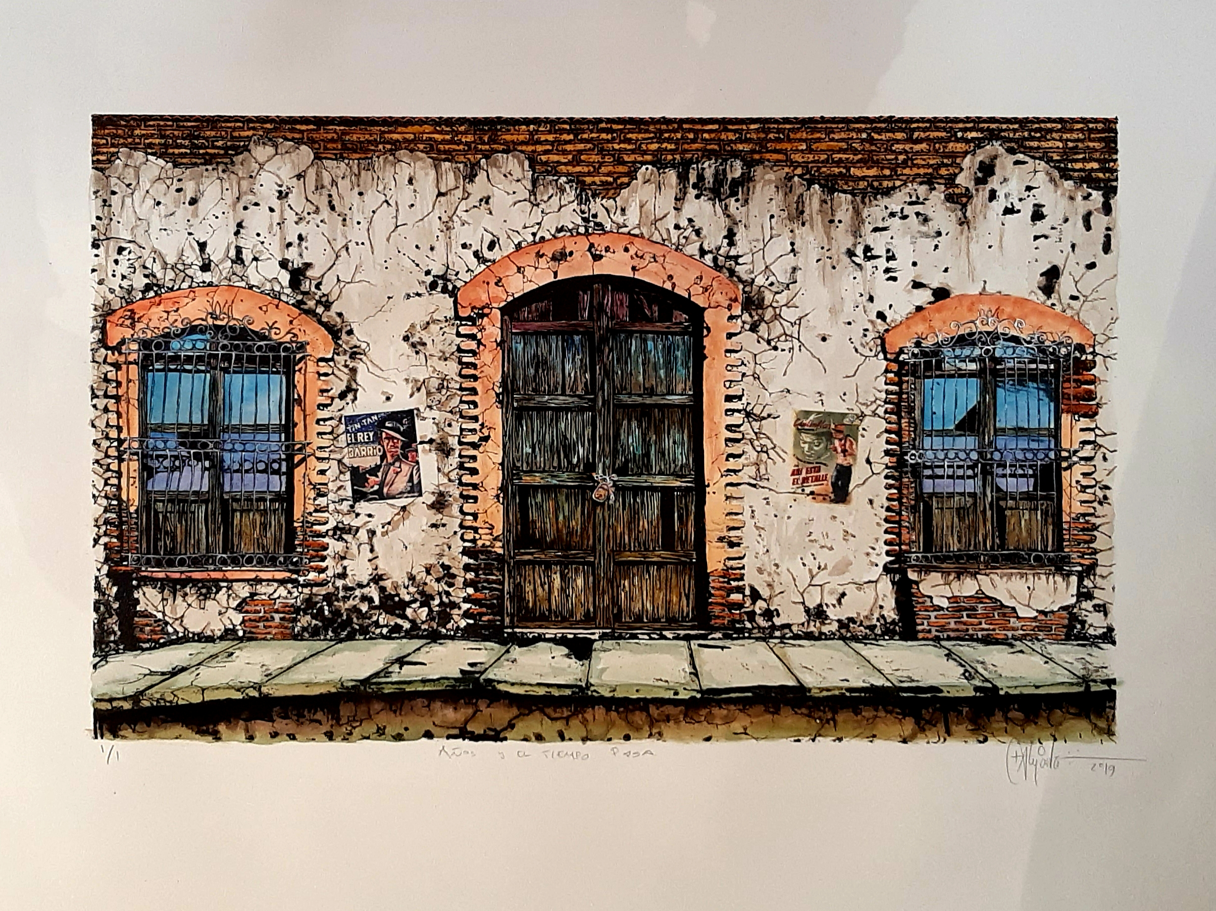 """Cruz Alejandro, """"Años y el tiempo pasa"""", Litografía intervenida con acuarela y transfer, Impresión 45x70.5 cm, Papel 70x90 cm."""