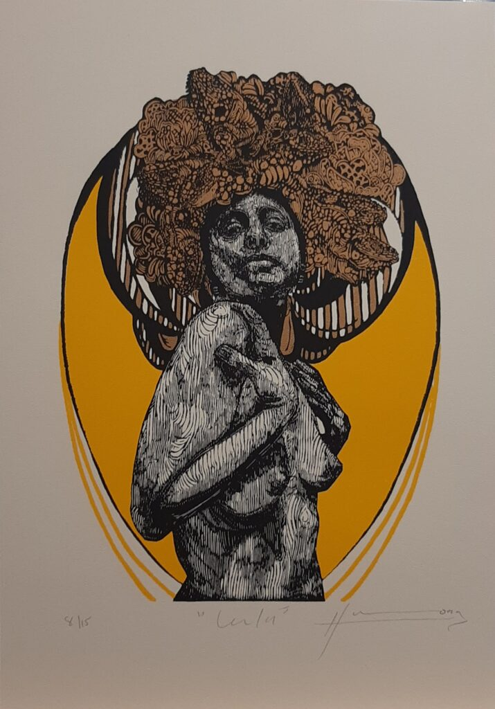 "Irving Herrera, ""Lulu"", Xylografía, Impresión 39 x 28 cm, Papel 53.5 x 37 cm."