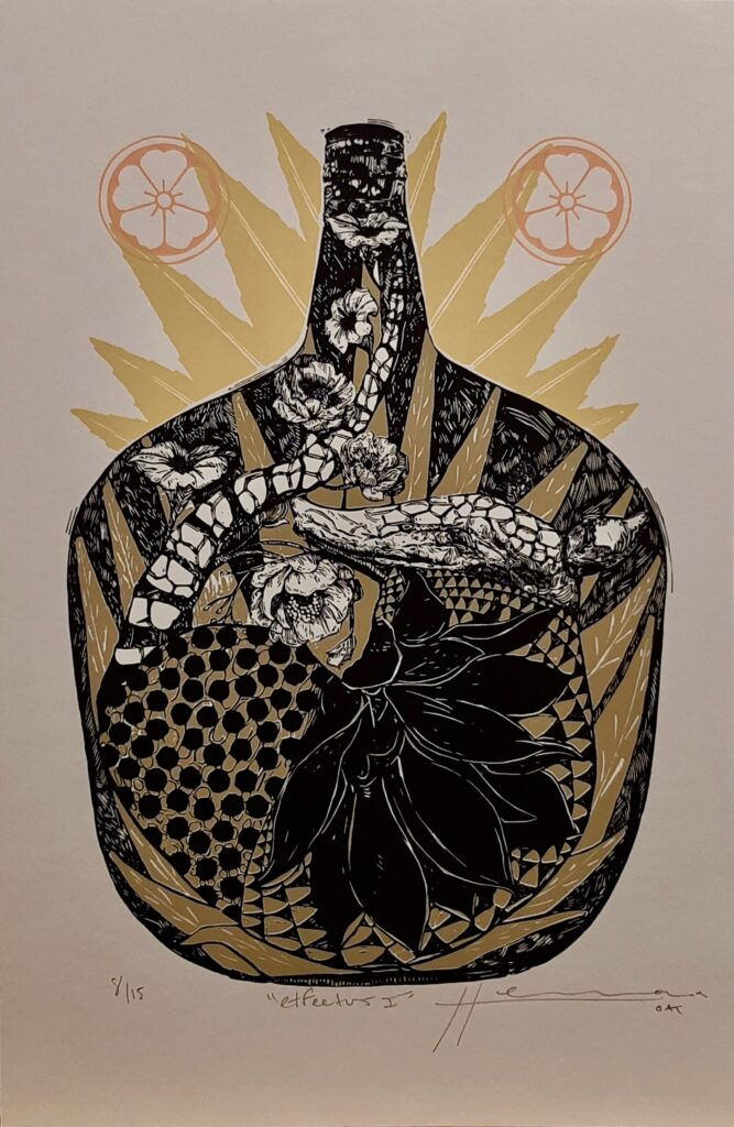 "Irving Herrera, ""Etfectus I"", Xylografía, Impresión 38 x 26.5 cm, Papel 50 x 32.5 cm."