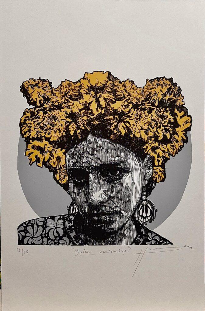 """Irving Herrera, """"Dulce Noviembre"""", Xylografía, Impresión 28 x 28 cm, Papel 50 x 32.5 cm."""