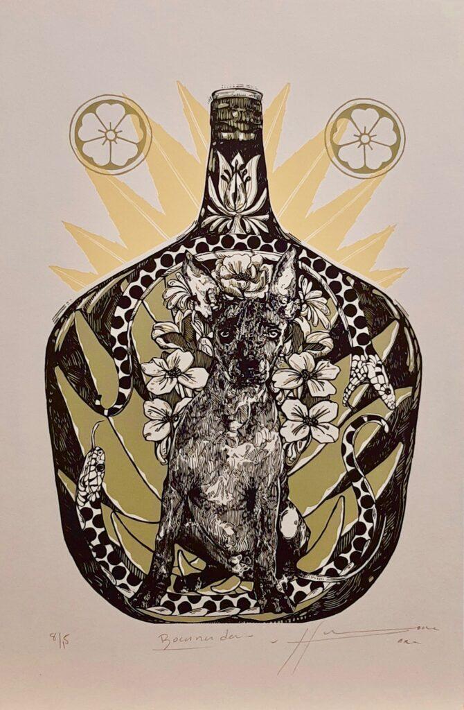 """Irving Herrera, """"Bocanada"""", Xylografía, Impresión 38.5 x 246.5 cm, Papel 50 x 32.5 cm."""