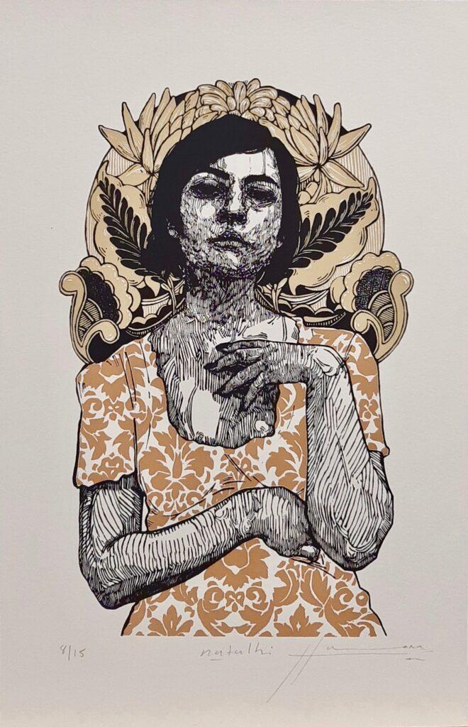 "Irving Herrera, ""Natalhi"", Xylografía, Impresión 38.5 x 24 cm, Papel 50 x 32.5 cm."