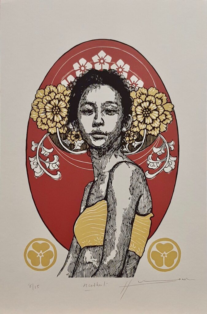 """Irving Herrera, """"Nathali"""", Xylografía, Impresión 38 x 24 cm, Papel 50 x 32 cm."""