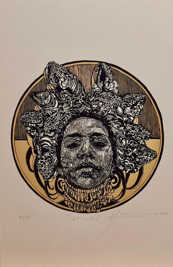 """Irving Herrera, """"Al canto"""", Xylografía, Impresión diametro 28 cm, Papel 50 x 32.5 cm."""