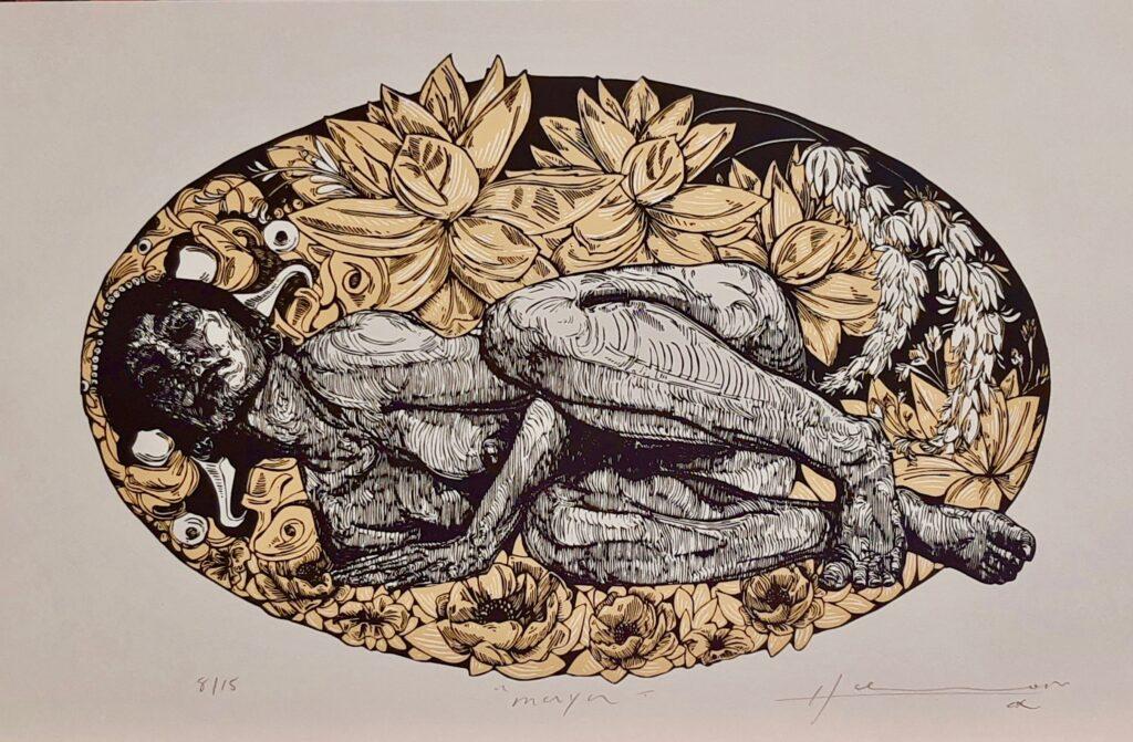 "Irving Herrera, ""Maya"", Xylografía, Impresión 27 x 42 cm, Papel 50 x 32.5 cm."