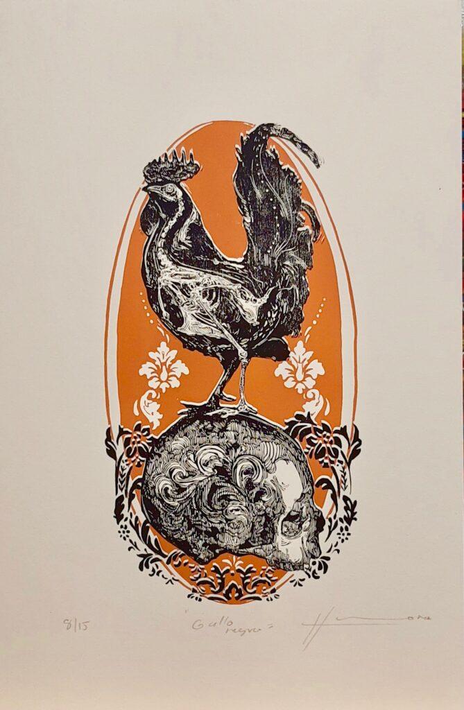 """Irving Herrera, """"Gallo Negro"""", Xylografía, Impresión 34 x 18 cm, Papel 50 x 32.5 cm."""