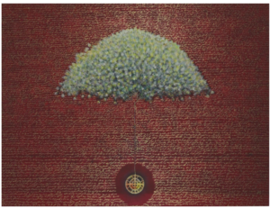 """Carta de navidad""  |   Rosendo Vega   |   Óleo / oro falso / lienzo: 150 x 200 cm"