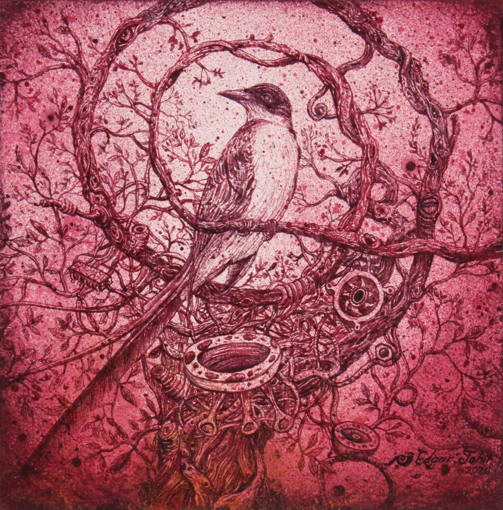 """Chimalli""  |  Edgar Jahir  |   Tinta  de grana cochinilla  30 x 30. ( 50 x 50 obra enmarcada)"