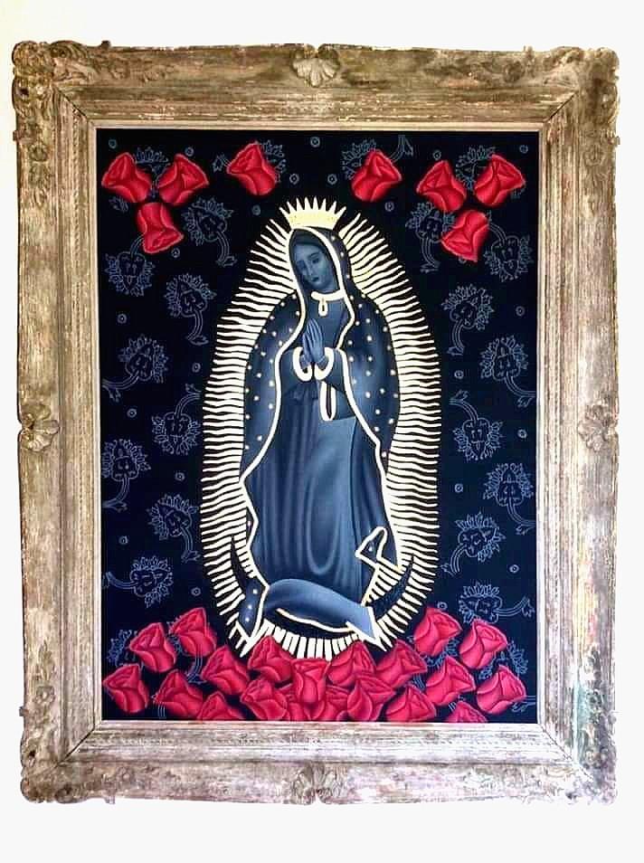 Virgen de Guadalupe    |    Julio Garcés   |   Óleo y hoja de oro sobre loneta   |    75 x 100 cm ; Medida con marco 99 x 124 cm
