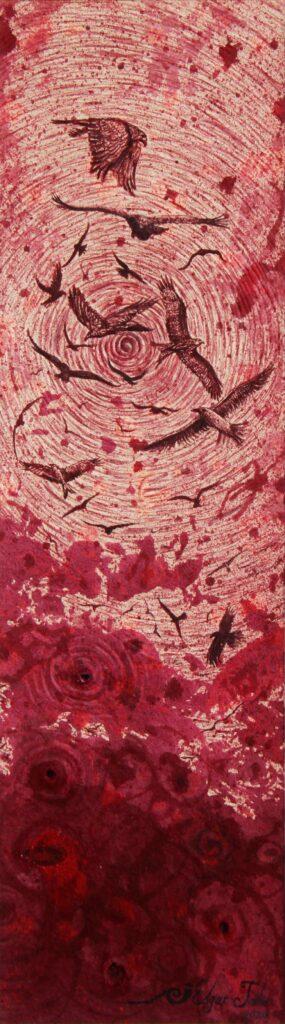 """Aviario""   |   Edgar Jahir   |   Tinte de grana cochinilla sobre papel de fibras naturales  42 x 12 ( 60 x 30 obra enmarcada)"