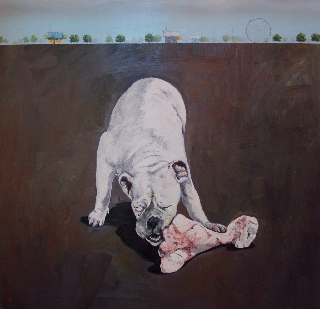 """El hueso""  |  Manuel de Cisneros   |   Óleo sobre tela 140 x 150 cm"
