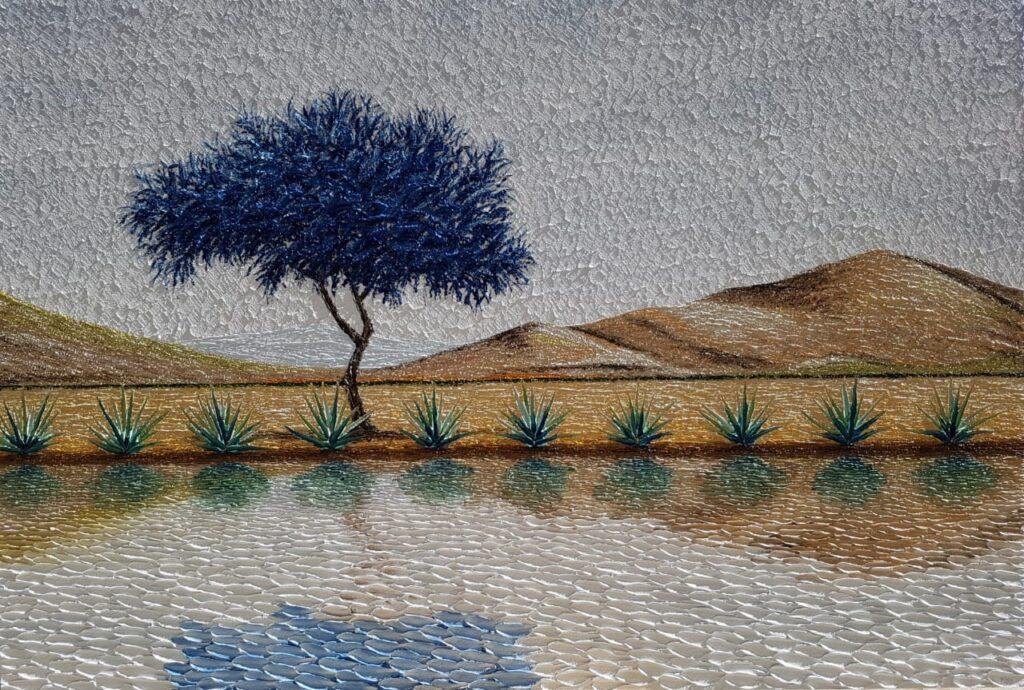 """Agaves""       Guillermo Pons       Óleo sobre tela  100 x 200 cm"