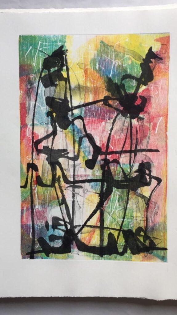 """""""Sin título""""        Vicente Mesinas      Xilografía monotipo en placa de acrílico : impresión 19 x 29 cm; Papel 28 x 38 cm"""