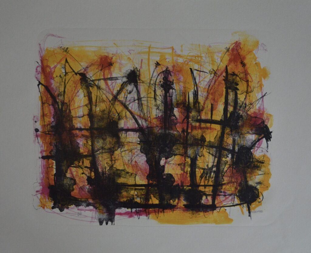 """""""Sin título""""       Vicente Mesinas        Litografia: impresión 40 x 63 cm;  Papel  76 x 56 cm"""