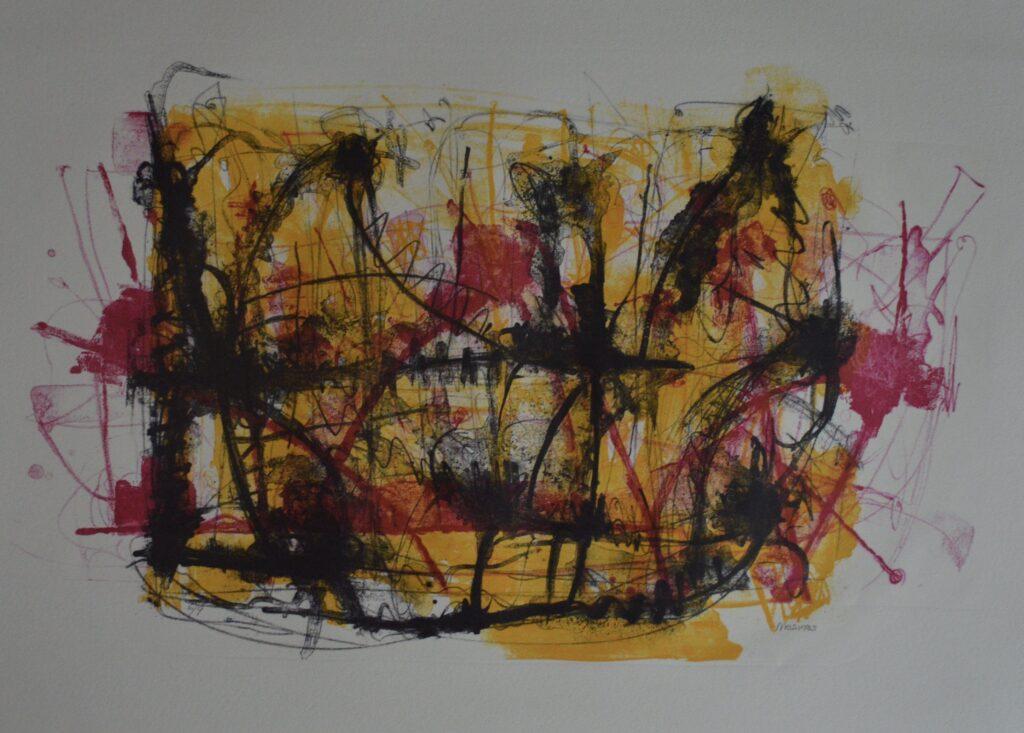 """Sin título""          Vicente Mesinas        Litografía: impresión 50 x 40 cm; Papel 76 x 56 cm"
