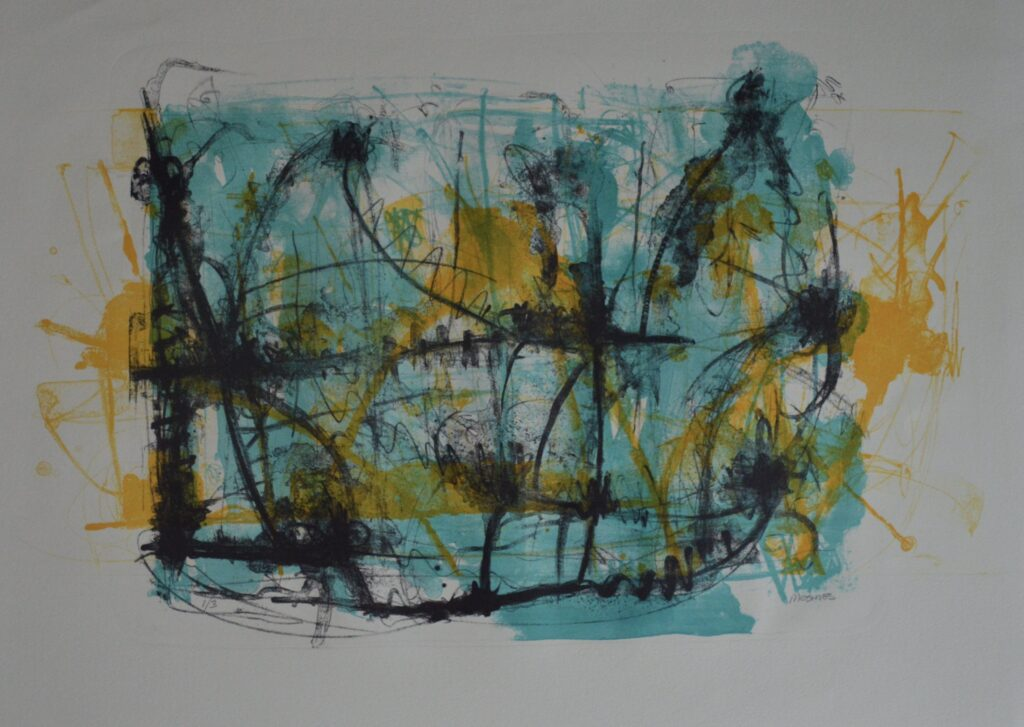 """Sin título""        Vicente Mesinas       Litografía: impresión 63 x 40; Papel 76 x 56 cm"