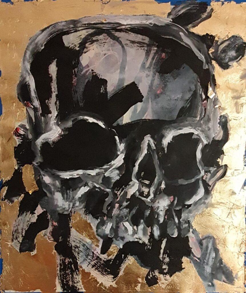 Lucio Santiago     Calavera     Tinta china sobre papel sobre hoja de oro falsa       70 x 59 cm