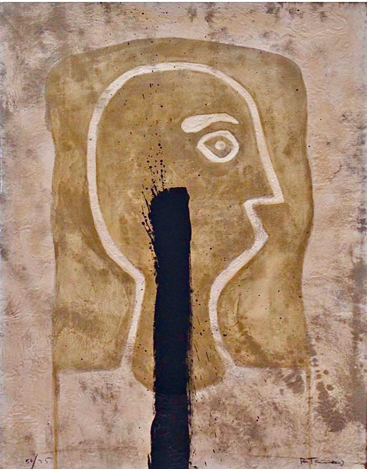 """Cabeza en ocre""  |  Rufino Tamayo |  Aguafuerte 76 x 50 cm"
