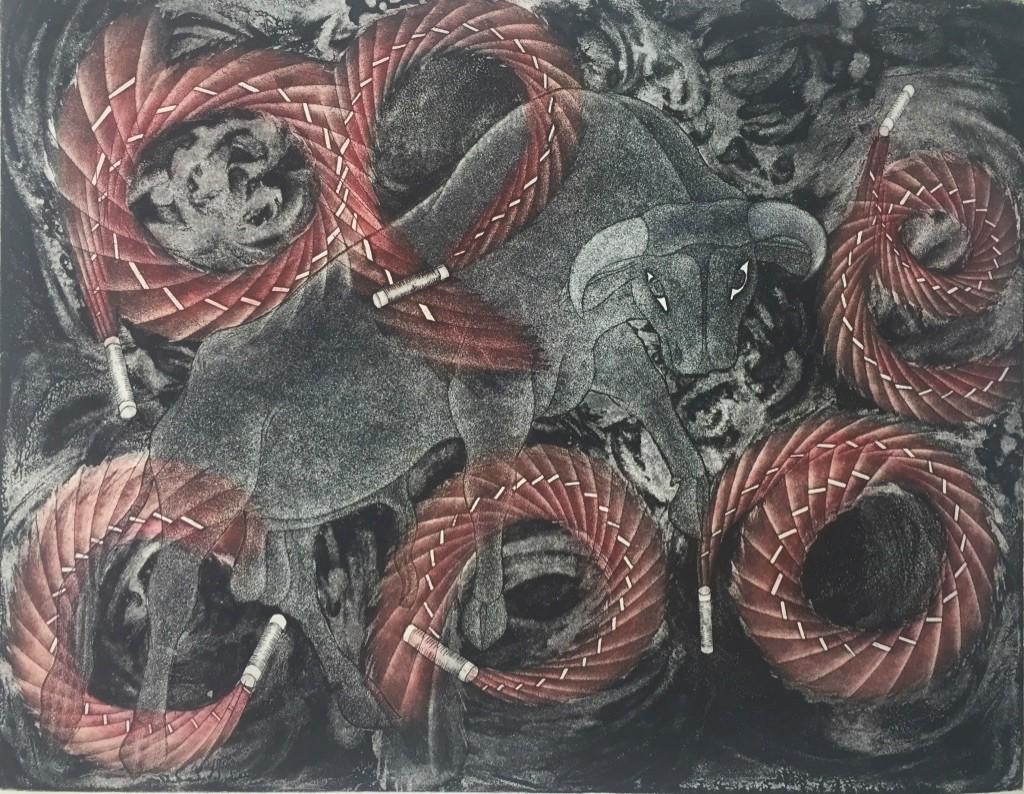 Jaripeo  |   Juan Alcazar   |   Grabado en Metal   |    Papel 54 x 59 cm;  impresión 39 x 30 cm   ( Libro )