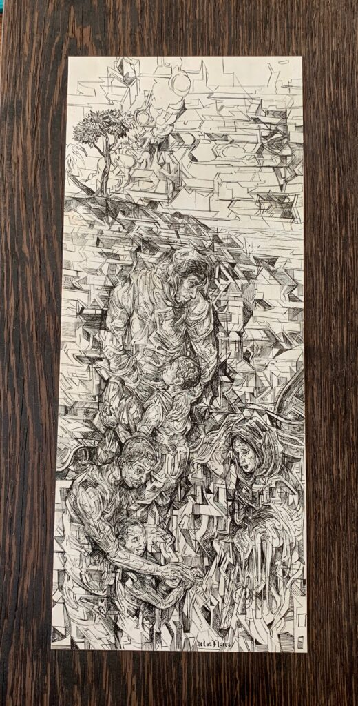 """Sin titulo"", Tinta sobre pergamino, Medidas 14 x 34 cm"