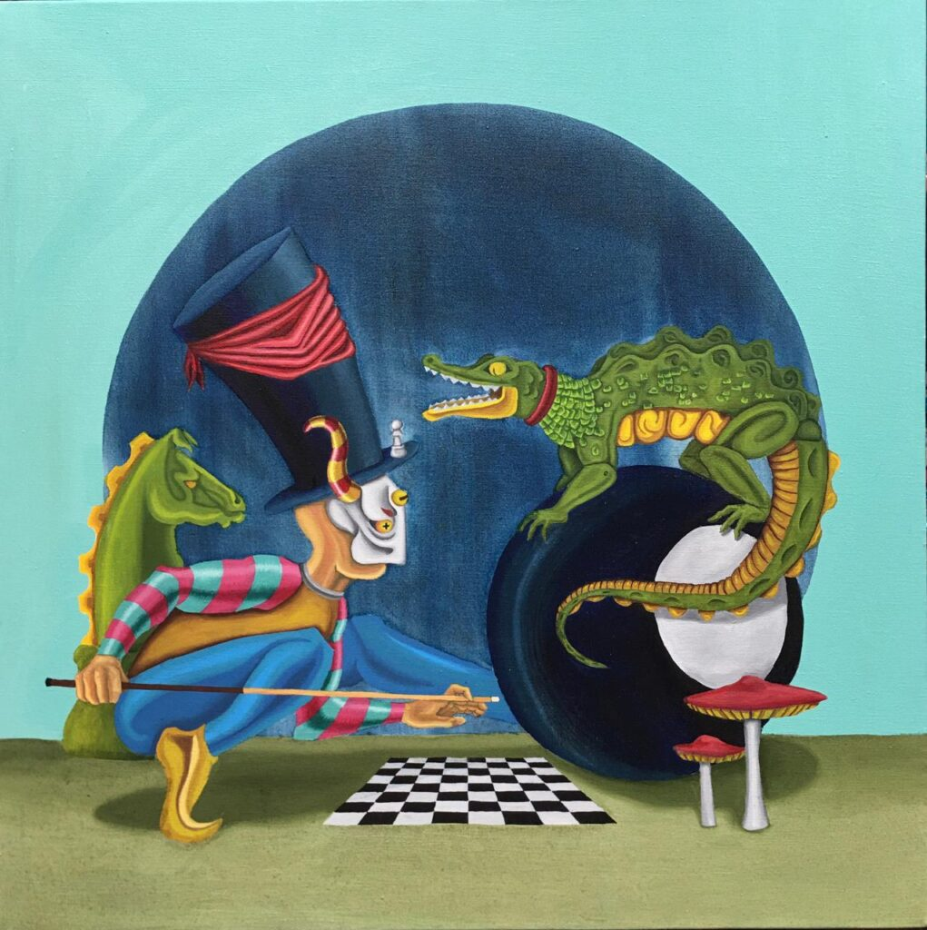 "Isaac Montes, ""Sin titulo"", Oleo sobre tela, Medidas 100 x 100 cm"