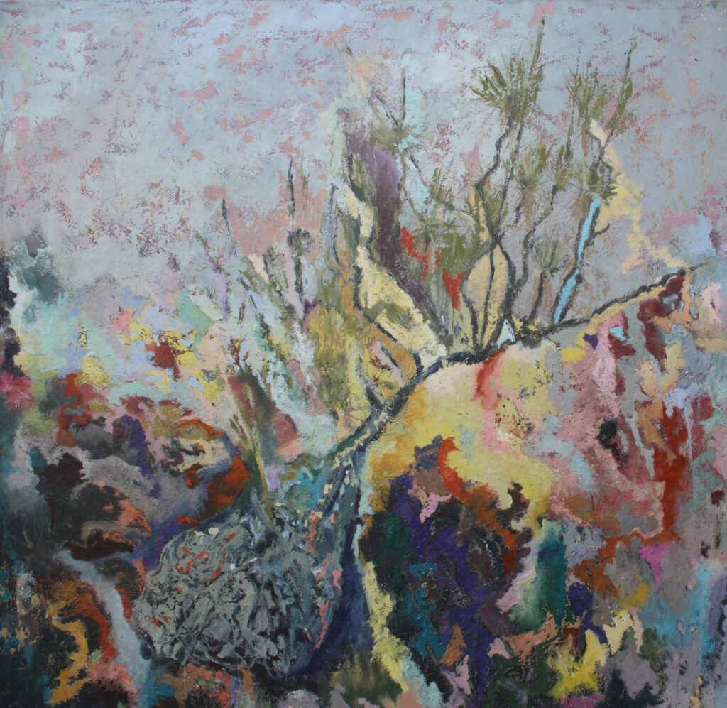 """Amarillo en fuga"", Josefa Garcia, Óleo sobre tela, Medidas: 100 x 100 cm"